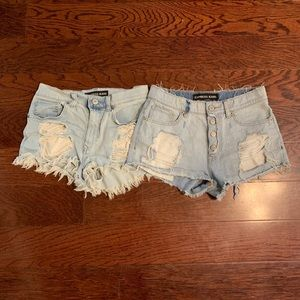 Express Distressed High Waisted Shorts